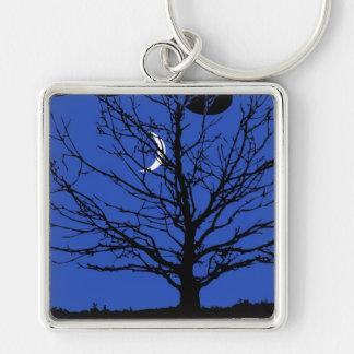 Paysage lunaire dans le bleu et le noir de cobalt porte-clés