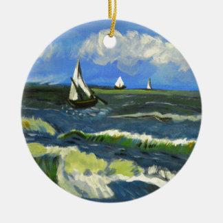 Paysage marin chez Saintes-Maries, Van Gogh Ornement Rond En Céramique