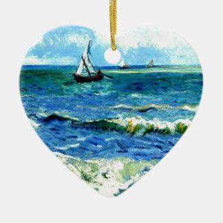 Paysage marin chez Saintes-Maries, Vincent van Ornement Cœur En Céramique