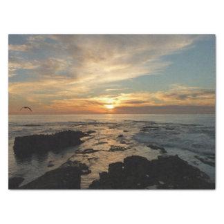 Paysage marin du coucher du soleil I la Californie Papier Mousseline