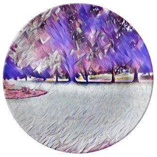 Paysage peint par blanc de rose de rose assiette en porcelaine