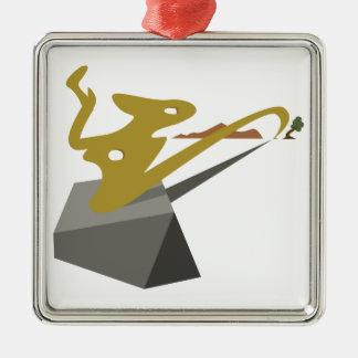 Paysage surréaliste ornement carré argenté