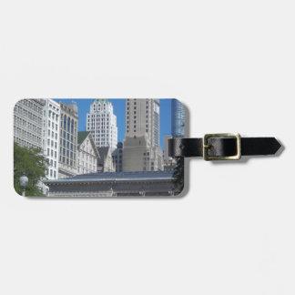 Paysage urbain de Chicago Étiquette Pour Bagages
