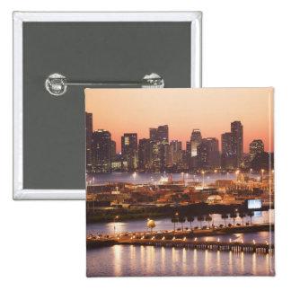 Paysage urbain de Miami Badge Carré 5 Cm