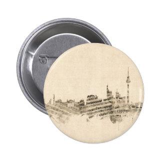 Paysage urbain de musique de feuille d'horizon de badge rond 5 cm