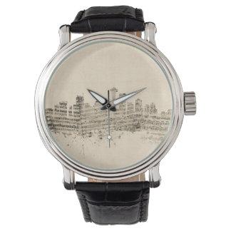 Paysage urbain de musique de feuille d'horizon de montres