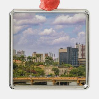 Paysage urbain de Recife, Pernambuco Brésil Ornement Carré Argenté