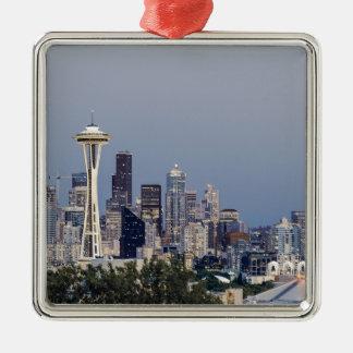 Paysage urbain de Seattle Ornement Carré Argenté