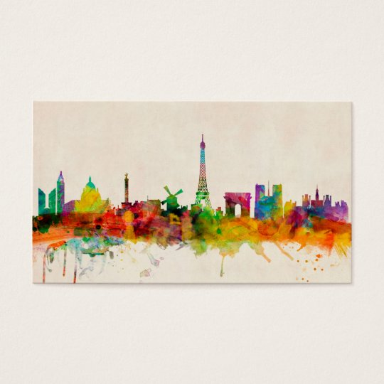 paysage urbain d 39 horizon de paris france cartes de visite zazzle. Black Bedroom Furniture Sets. Home Design Ideas