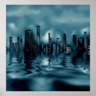 Paysage urbain foncé de bleus avec des réflexions poster