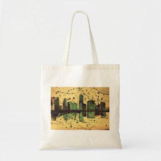 Paysage urbain pour aquarelle abstrait sac en toile budget