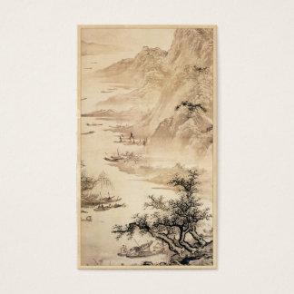 Paysage vintage de paysage de peinture de Sumi-e Cartes De Visite