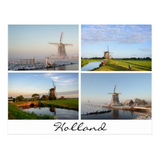 Paysages avec des moulins à vent en carte postale