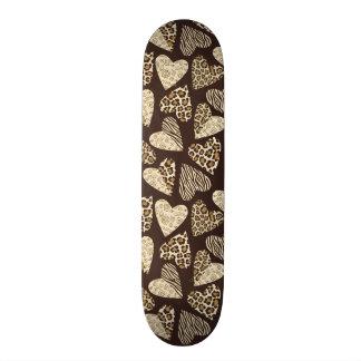 Peau d'animal avec des coeurs plateau de skateboard