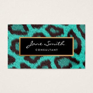 Peau d'animal turquoise, léopard, feuille d'or de cartes de visite