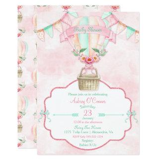 Pêche chaude de menthe de rose d'aquarelle de carton d'invitation  12,7 cm x 17,78 cm