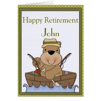 Pêche de la retraite d'ours carte de vœux