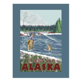 Pêcheur de mouche - Fairbanks, Alaska Carte Postale