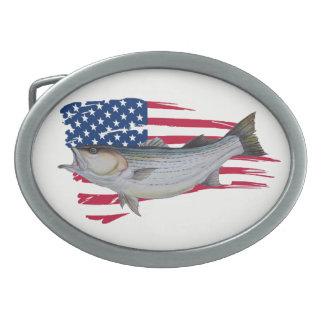 pêcheurs américains de bar d'Amérique Boucle De Ceinture Ovale