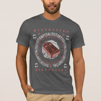 Pédale de déformation de guitare, saumon rouge t-shirt