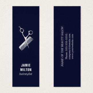 Peigne bleu élégant moderne de ciseaux d'argent de mini carte de visite