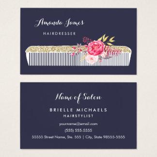 Peigne fleuri vintage de coiffeur avec floral rose cartes de visite