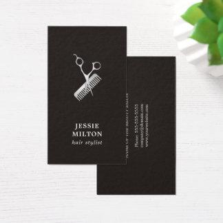 Peigne foncé élégant moderne de ciseaux d'argent cartes de visite