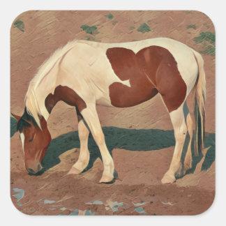 Peignez le poney sticker carré