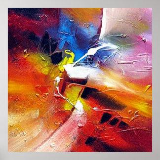 Peinture abstraite vert-bleu jaune rouge