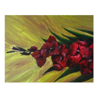 """Peinture acrylique de """"Gladioli"""" - carte postale"""