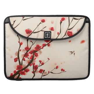 Peinture asiatique de style, fleur de prune au housse pour macbook