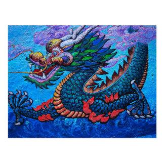 Peinture colorée de dragon d'huile chinoise cartes postales
