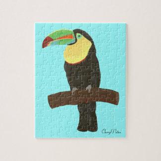 Peinture colorée d'oiseau de toucan, puzzle