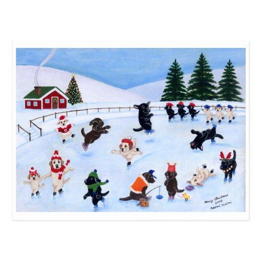 Peinture d'amusement de Labrador de Noël Cartes Postales