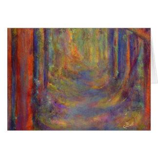 Peinture d'art en bois d'automne de tunnel de carte de correspondance