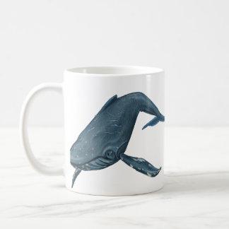Peinture de baleine de bosse mug blanc