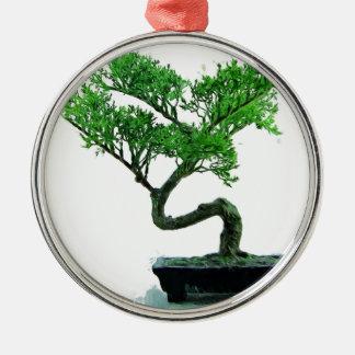 peinture de bonsaï-arbre ornement rond argenté