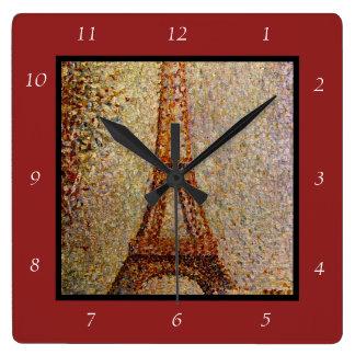 Peinture de Georges Seurat : Tour Eiffel (1889) Horloge Carrée