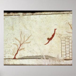 Peinture de la tombe du plongeur des sud