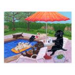 Peinture de Labradors 2 de réception au bord de la Carte Postale