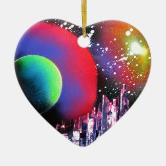 Peinture de paysage de l'espace de ville d'art de ornement cœur en céramique