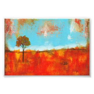 Peinture de paysage rouge abstraite d'arbre photographies