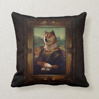 Peinture de Shibe Meme de beaux-arts de Mona Lisa Oreillers