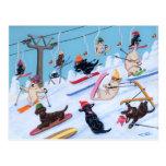 Peinture de ski de Labradors d'amusement d'hiver Cartes Postales