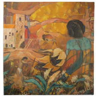 Peinture d'habitants de falaise serviettes en tissus