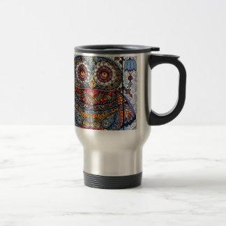 Peinture graphique magique de hibou mug de voyage en acier inoxydable