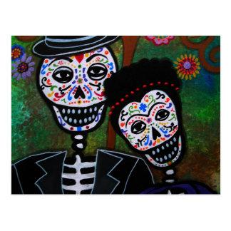 Peinture mexicaine d'amants carte postale