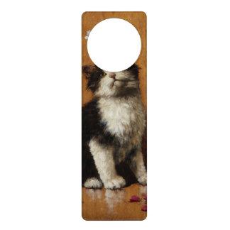 Peinture mignonne de chat cartons de porte