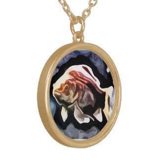 peinture profonde de natation de poissons oranges collier plaqué or