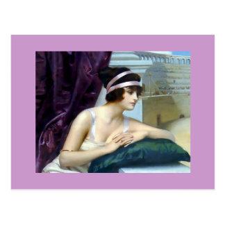 Peinture romaine de Colosseum de femme Carte Postale